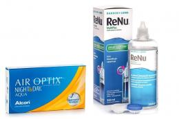 Air Optix Night & Day Aqua, 6er Pack + ReNu MultiPlus 360 ml mit Behälter